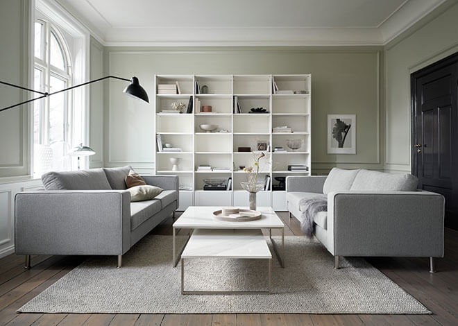 Light Grey Indivi sofa and ceramic Lugo coffee table