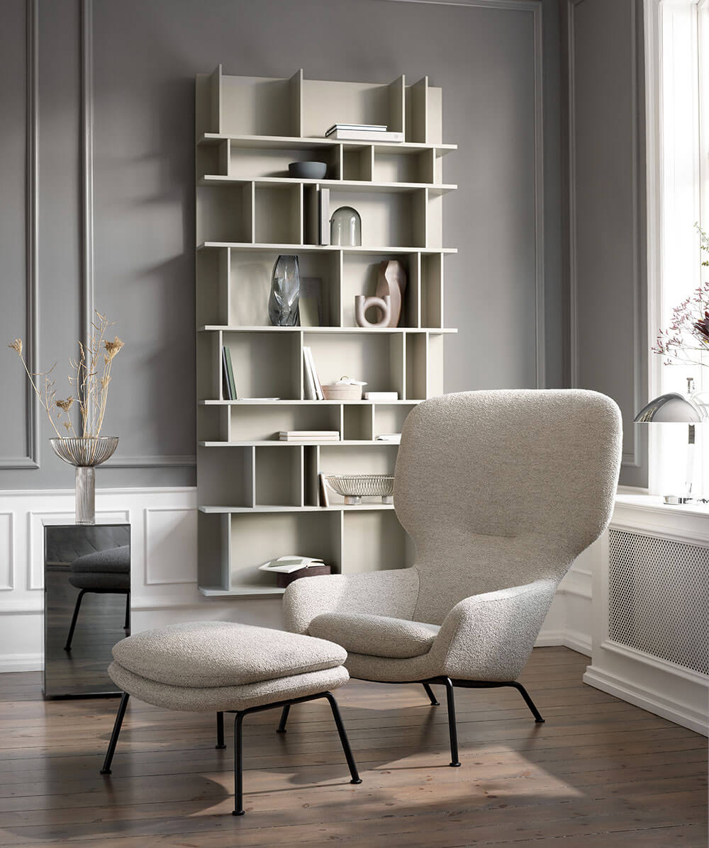 Beige Dublin chair with footstool and ash grey Como wall system