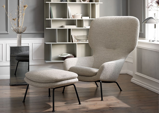 Beige Dublin chair and footstool
