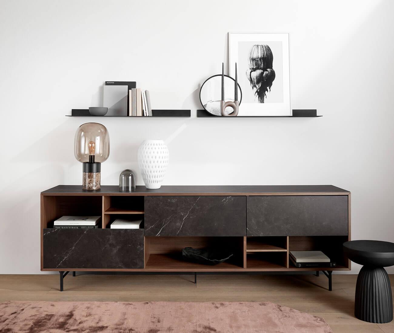 Walnut veneer Manhattan sideboard and black Como shelf