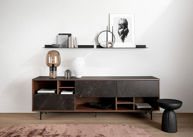 Walnut veneer Manhattan sideboard and black Como shelf