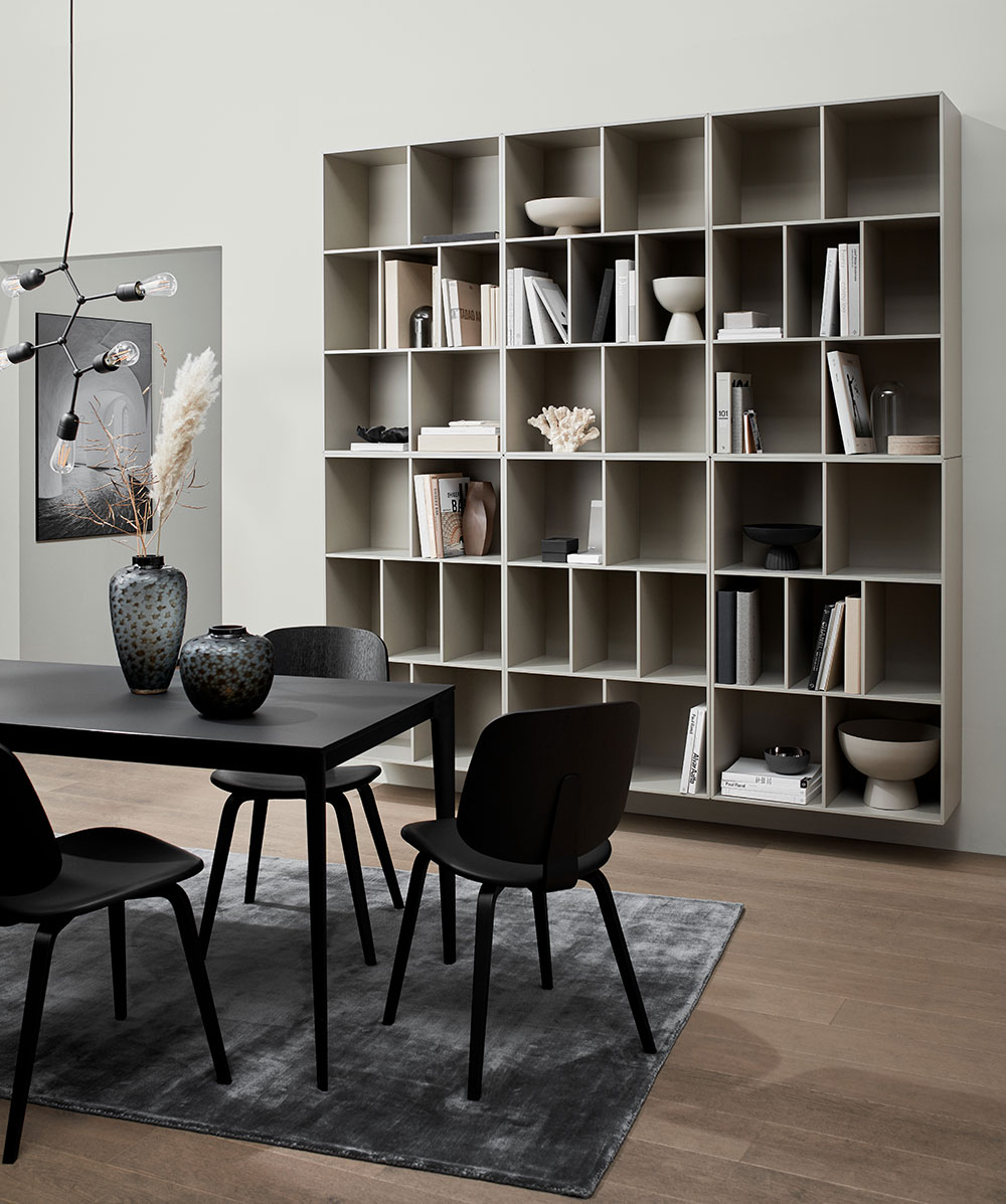 Black Torino table, black Aarhus chairs and ash grey Como wall system