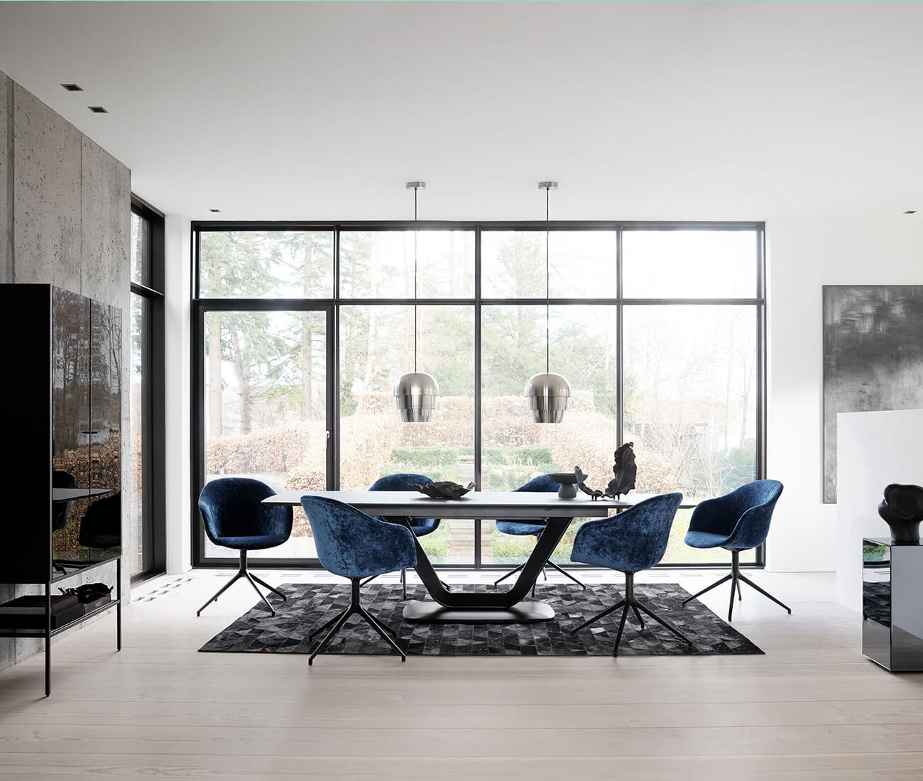Dark Alicante table and blue velvet Adelaide chairs