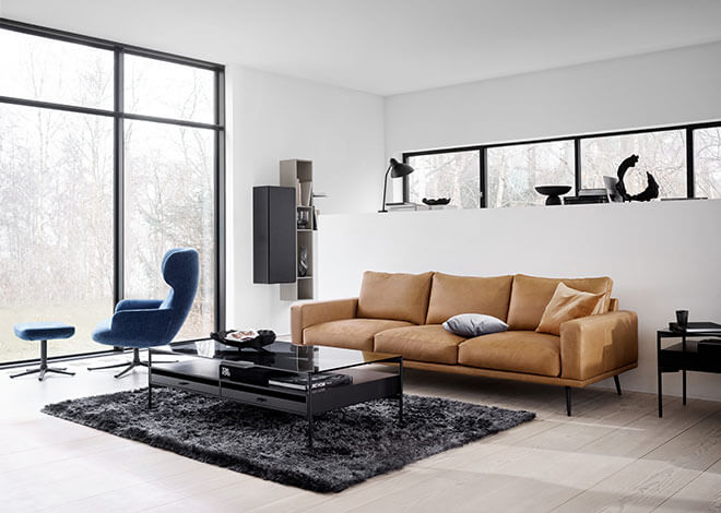 Cognac leather Carlton sofa and Los Angeles coffee table