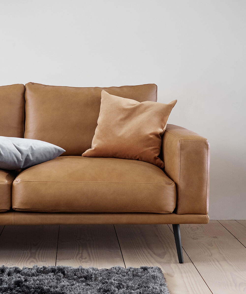 Cognac leather Carlton sofa