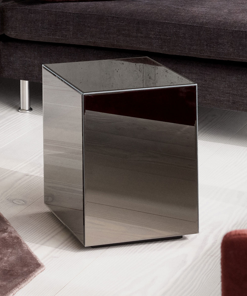 Dark grey Block mirror table