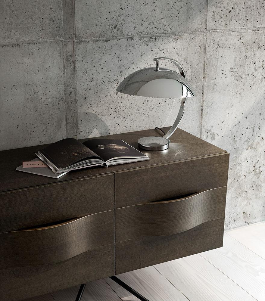 Chrome shelter table lamp