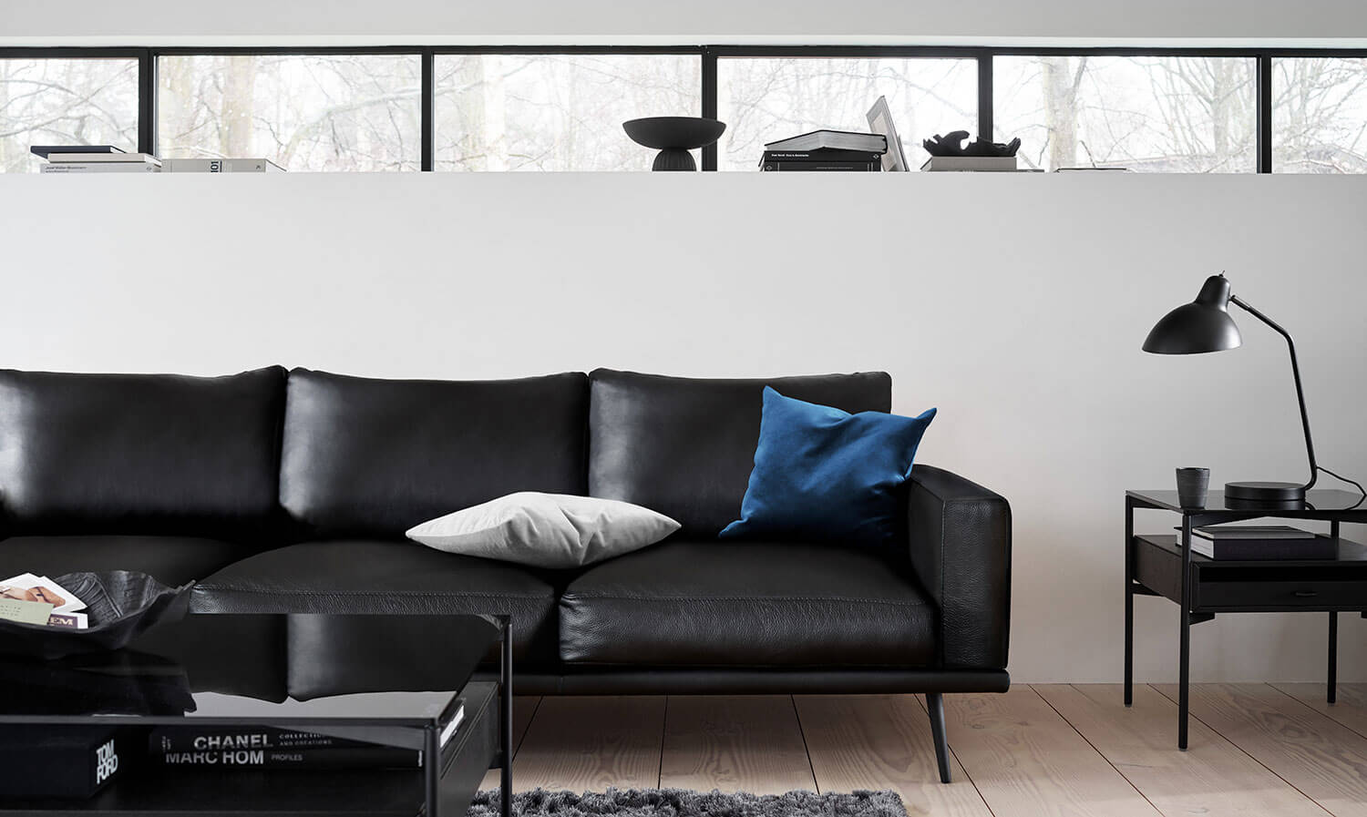 Black leather Carlton sofa