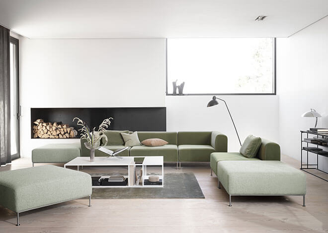 Light green velvet Miami sofa and Philadelphia coffee table