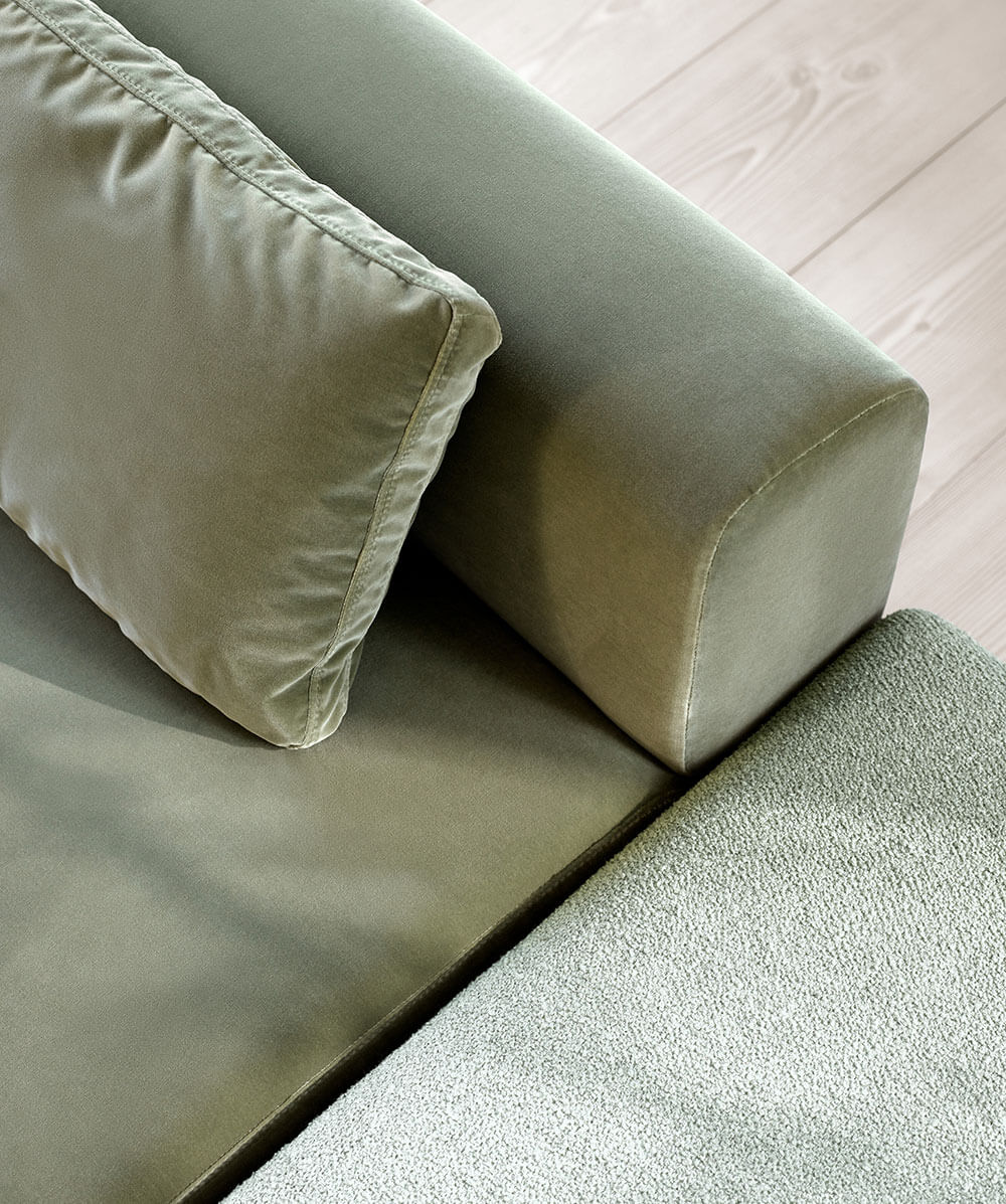 Light green velvet Miami sofa