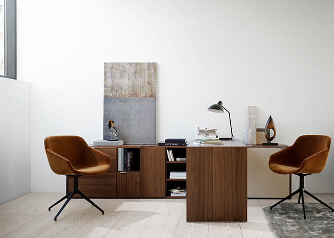 Walnut Copenhagen office system and camel velvet Vienna chairs