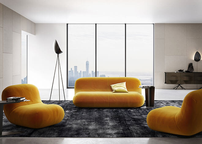 Yellow mustard velvet Chelsea sofa and chair