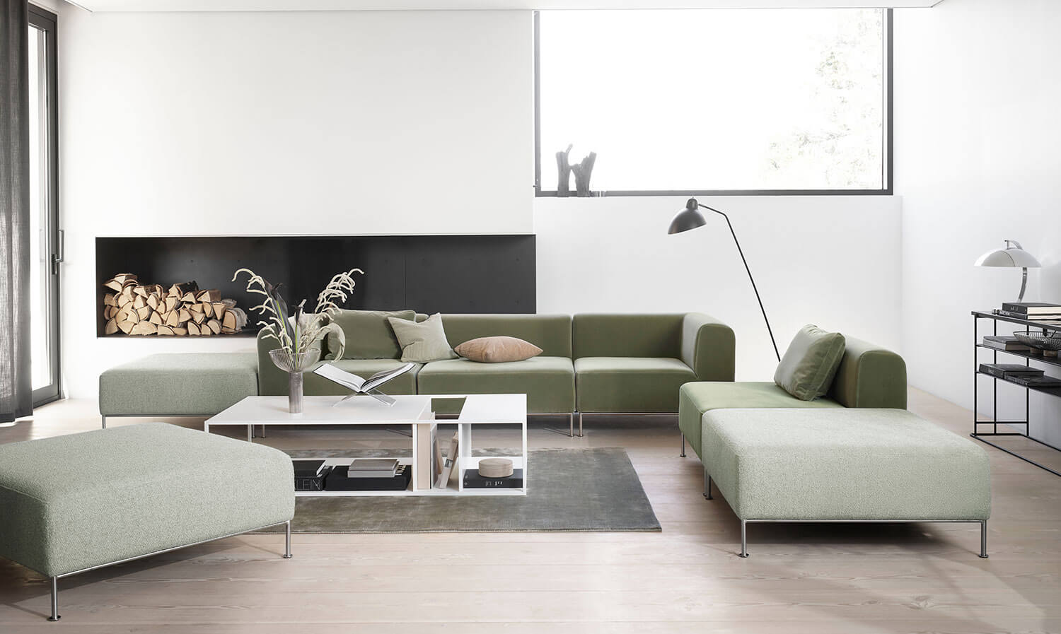 Light green velvet Miami sofa, Miami chair and Miami footstool