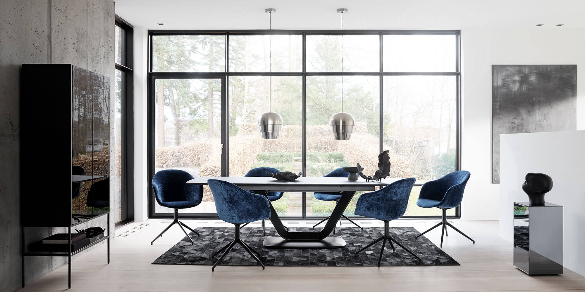 Dark Alicante table with blue velvet Adelaide chairs and Pine Cone Pendant