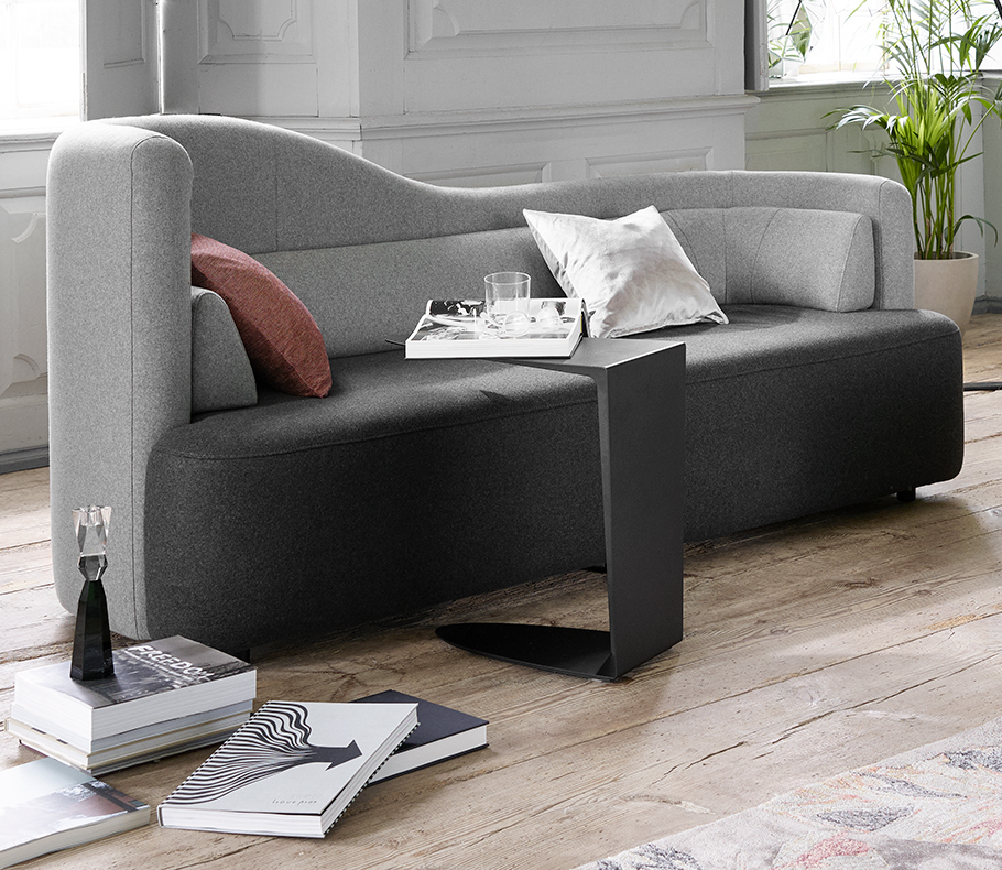 Black and grey Ottawa sofa and black side table