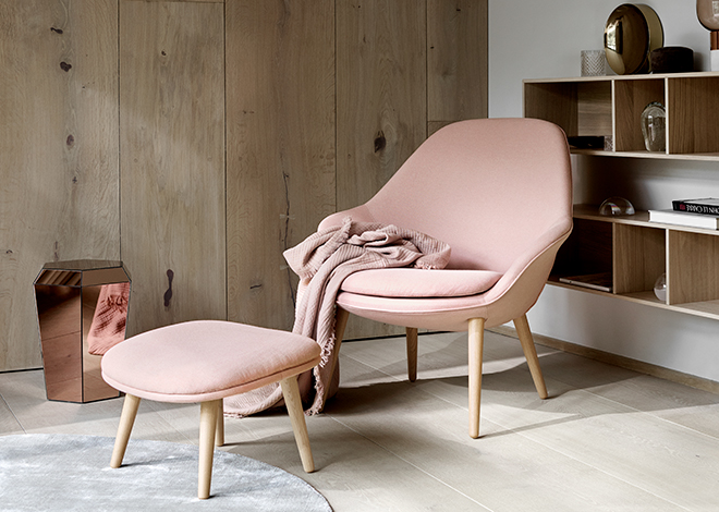 Dusty pink Adelaide chair and footstool