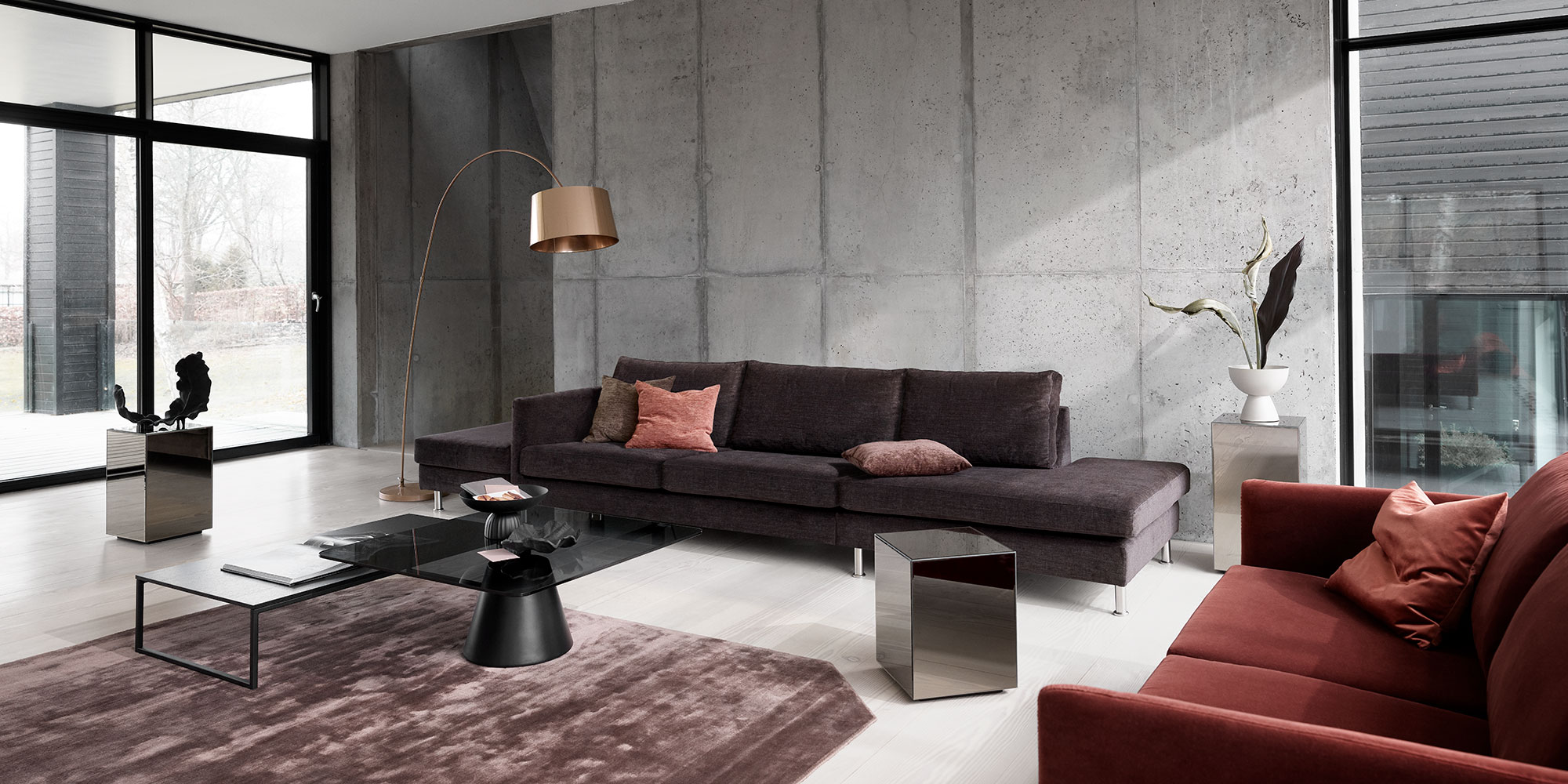 Dark brown sofas in livingroom