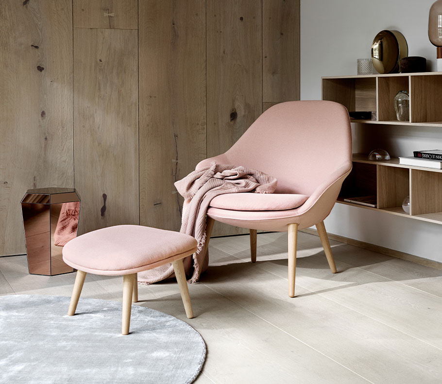 Pink Adelaide chair and footstool