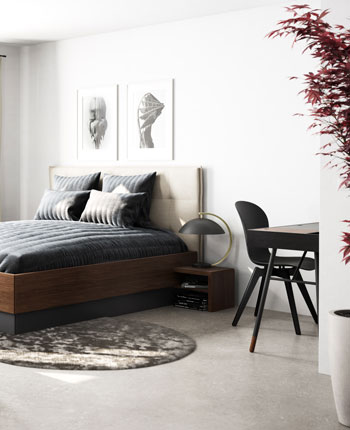 Bedroom with Lugano storage bed