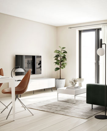 Living room with white Lugano cabinet, blue sofa and sofa table