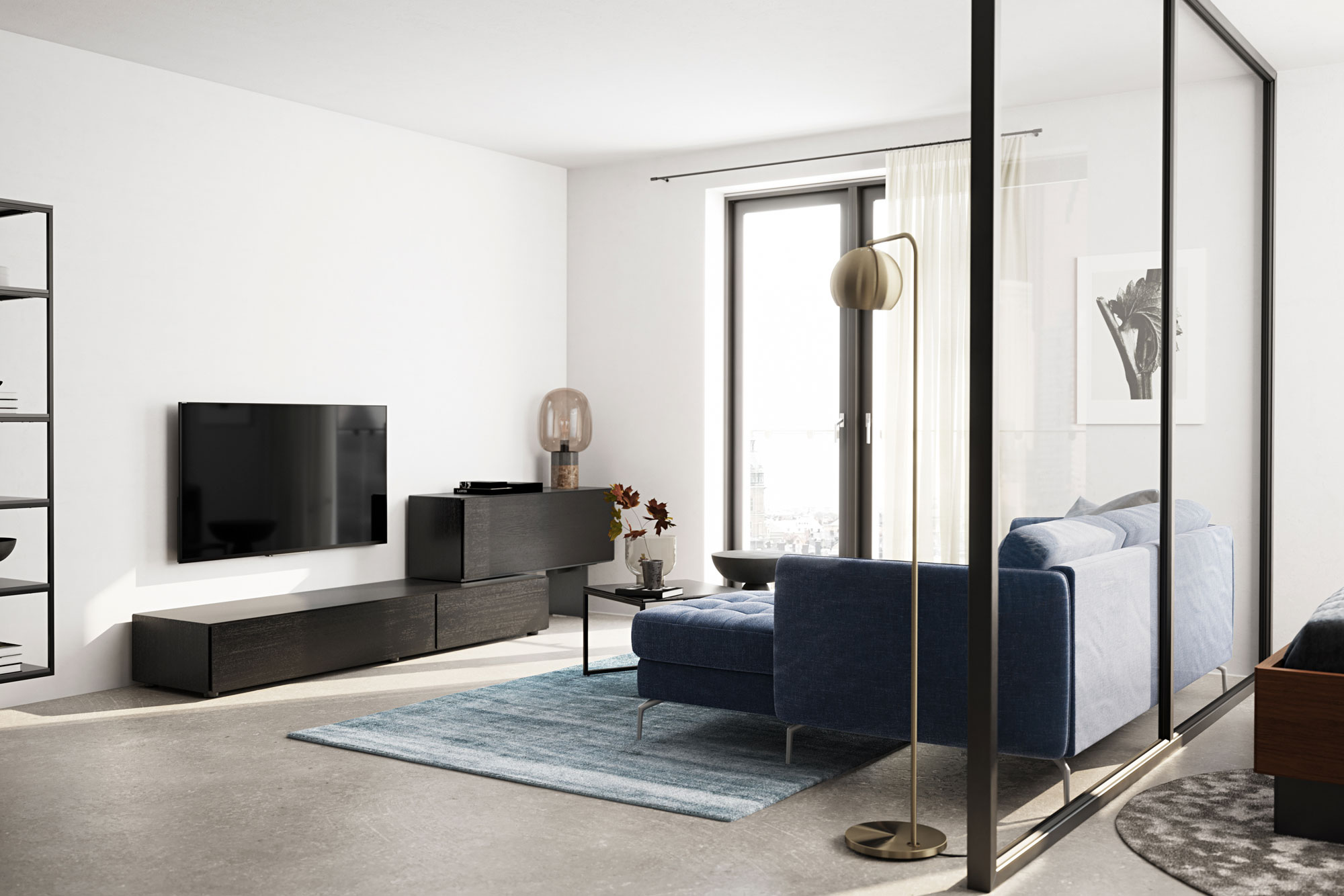 Living room with blue sofa, black coffee table and KIP floor lamp