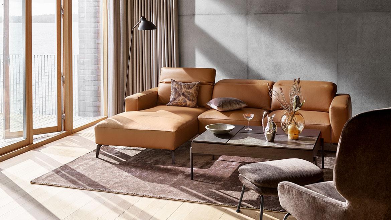 Camel leather chaise loungue sofa