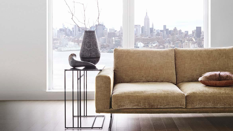 Hampton sofa with city view