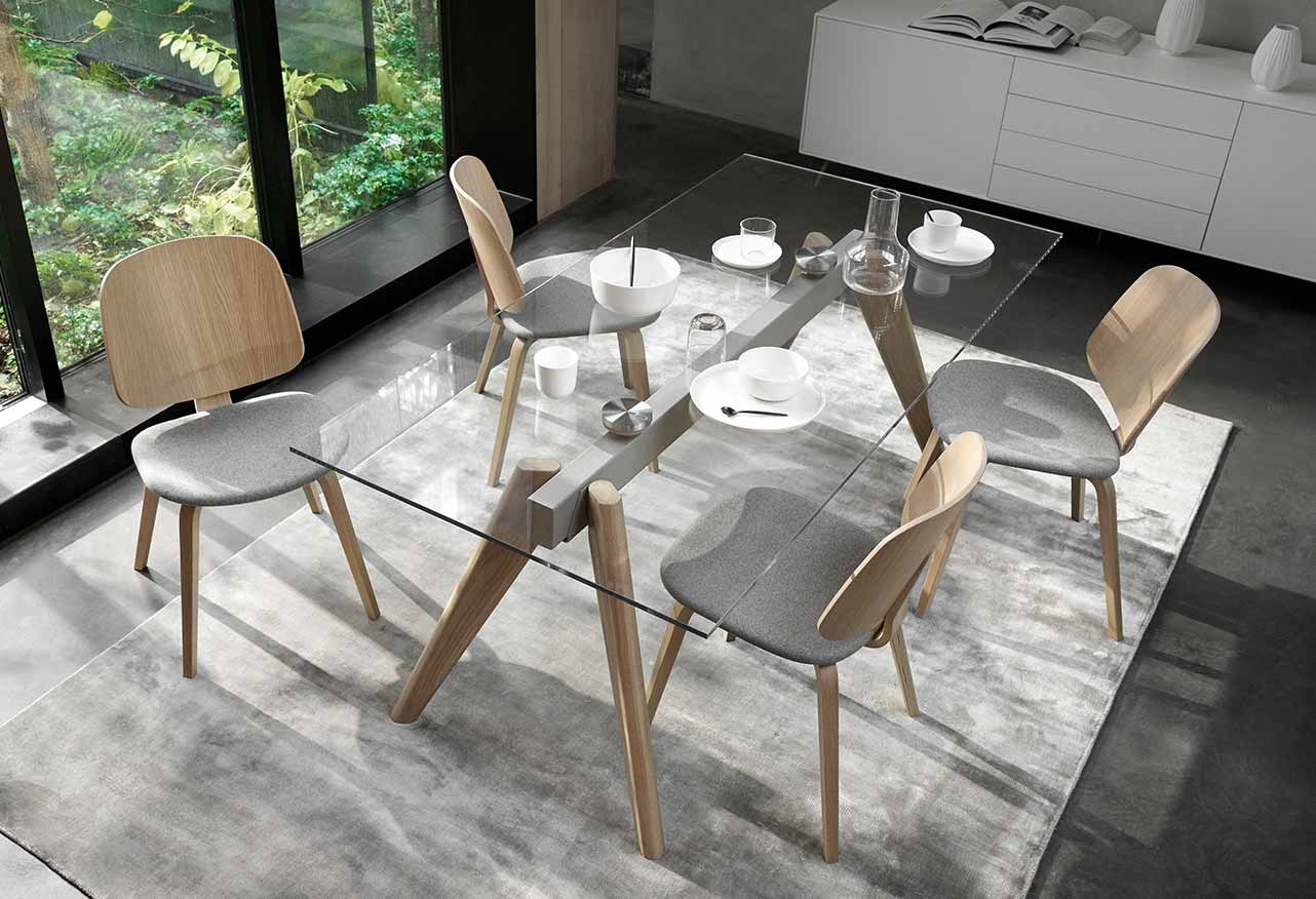 Monochrome overview with a glass dining table and four dining chairs