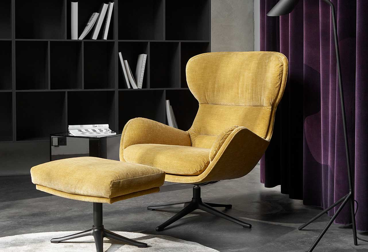 Reno chairs and footstool in lux gold