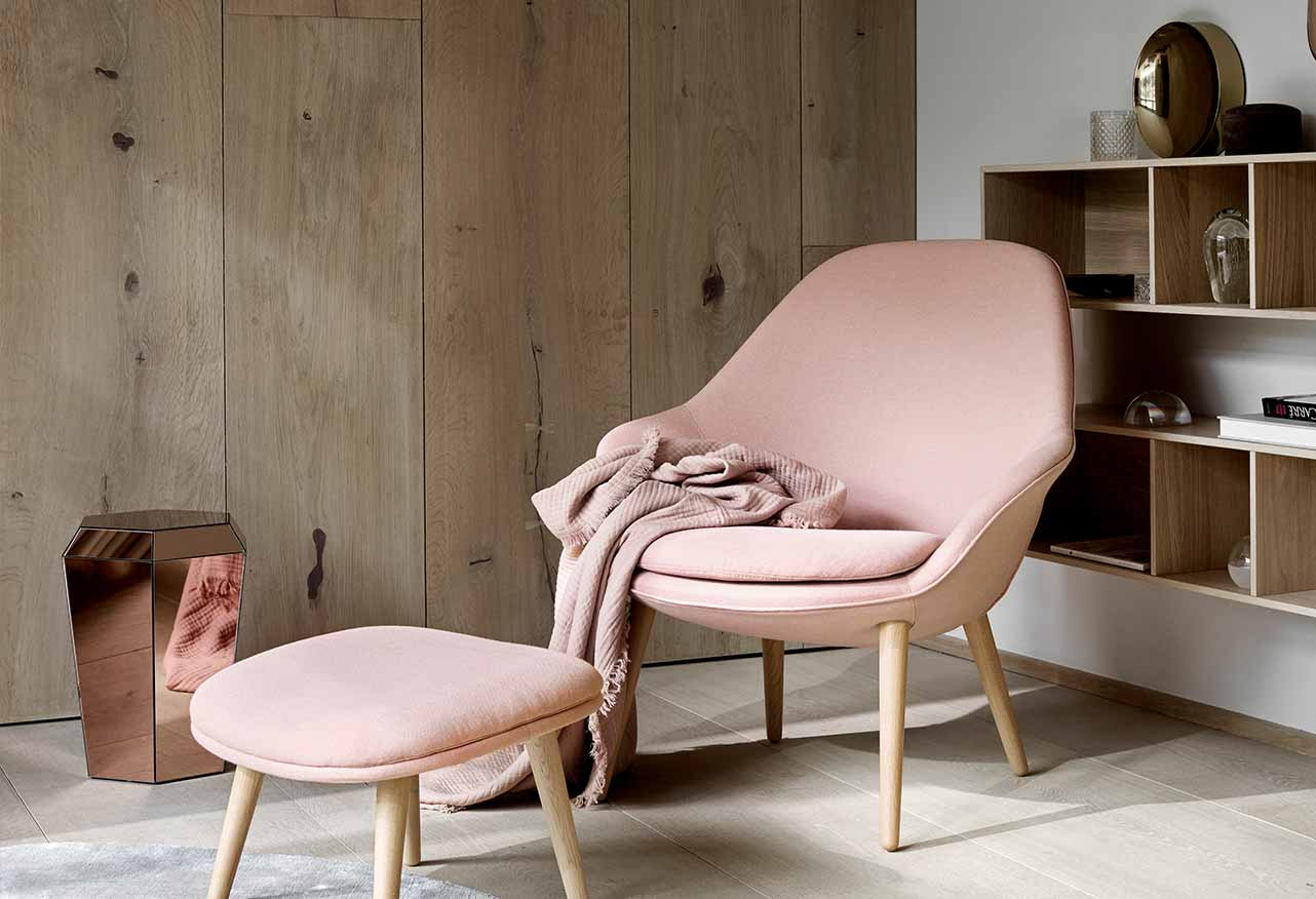 Dusty rose armchair and footstool