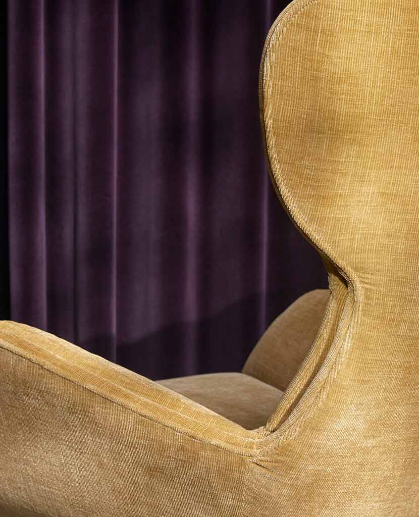 Close up picture of lux gold chair