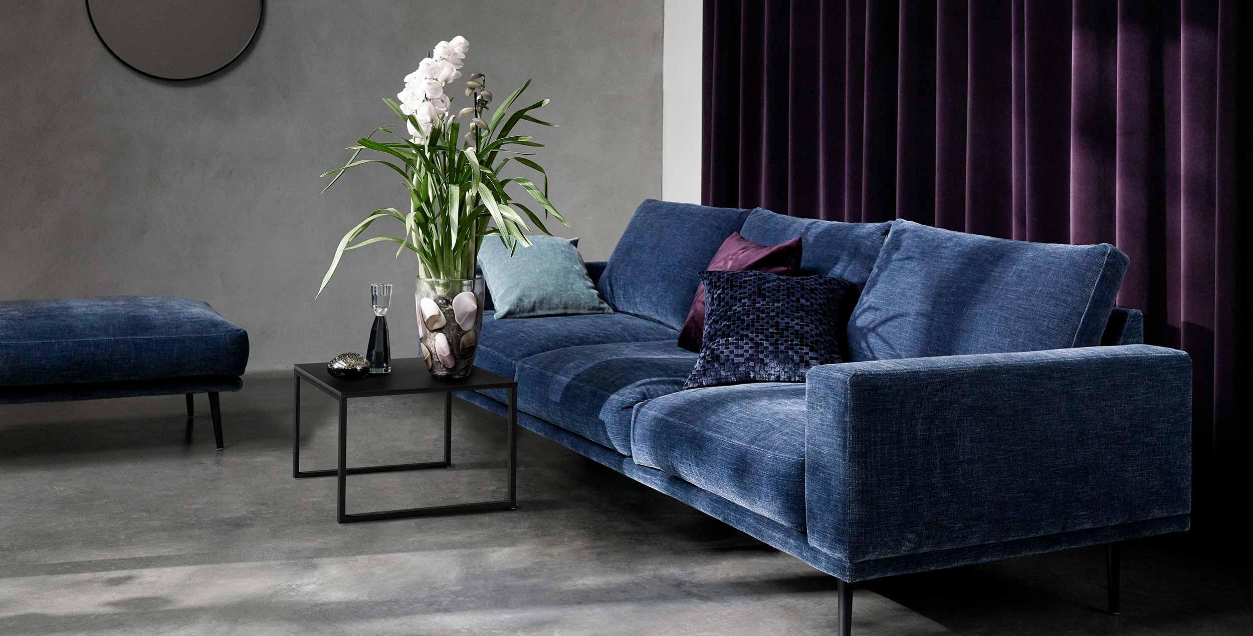 Coastal blue sofa in living room