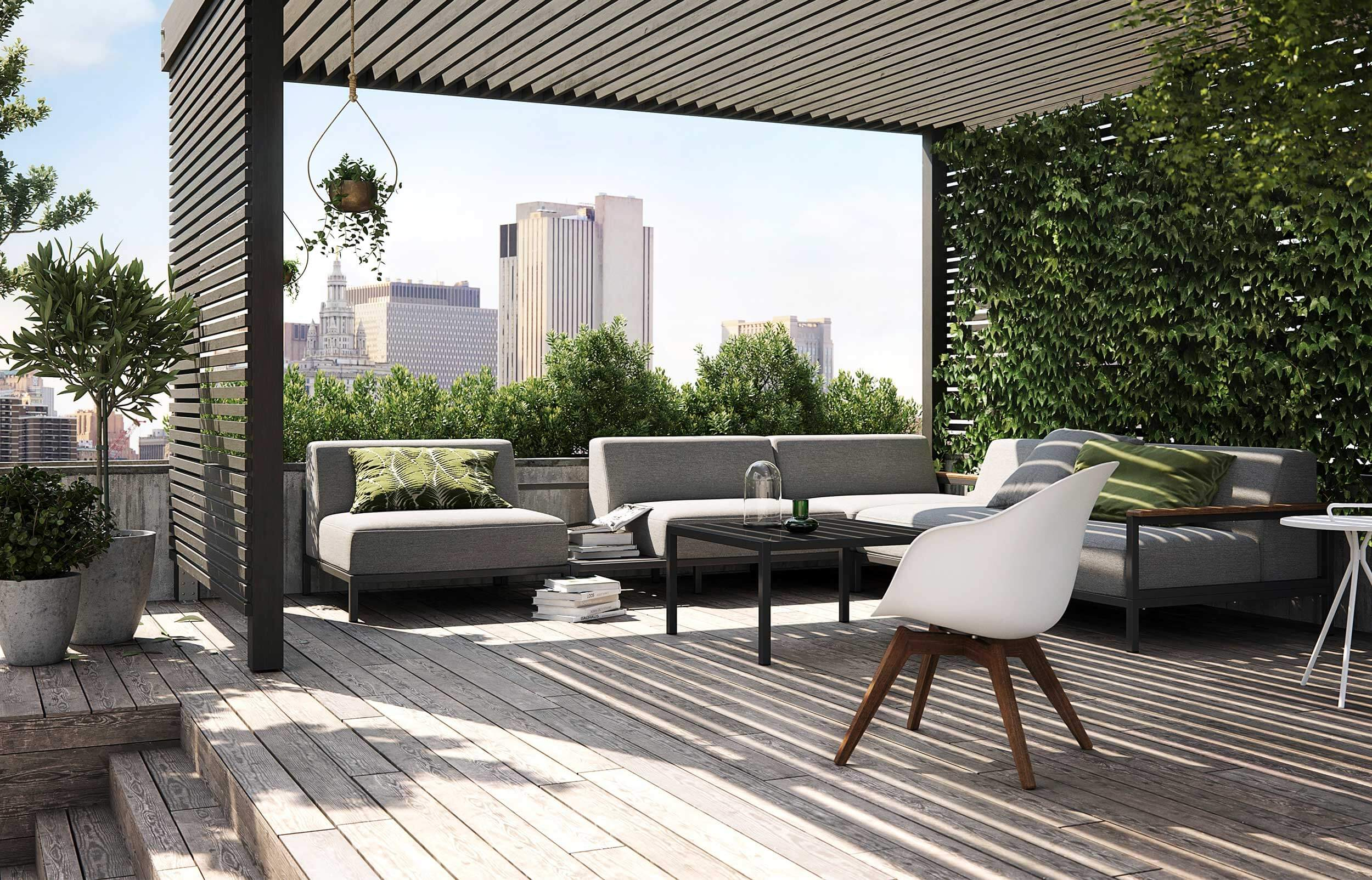 BoConcept's Rome garden sofa system and Adelaide chair on city rooftop terrace with pergola