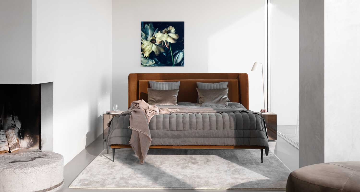 Velvet bed with headboard