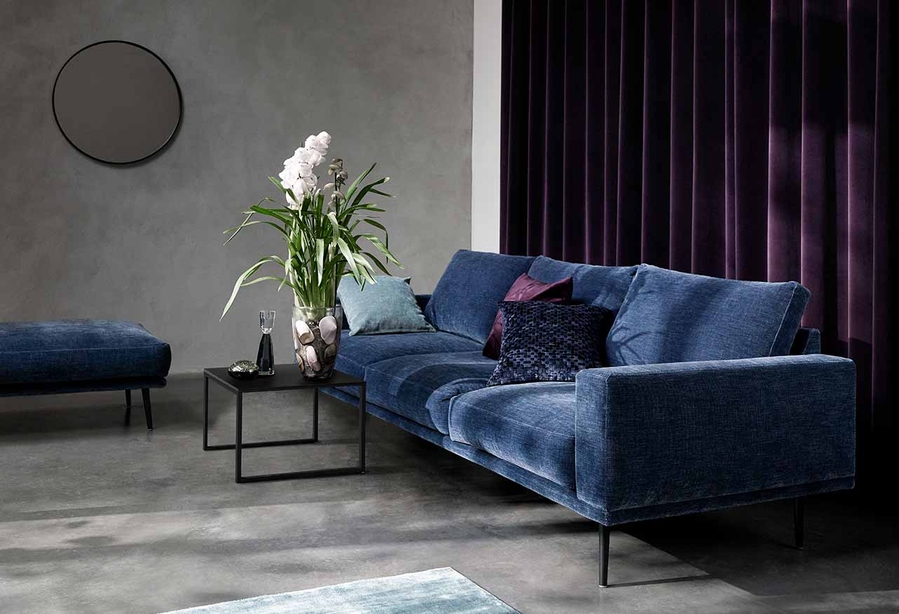 Costal blue sofa in living room