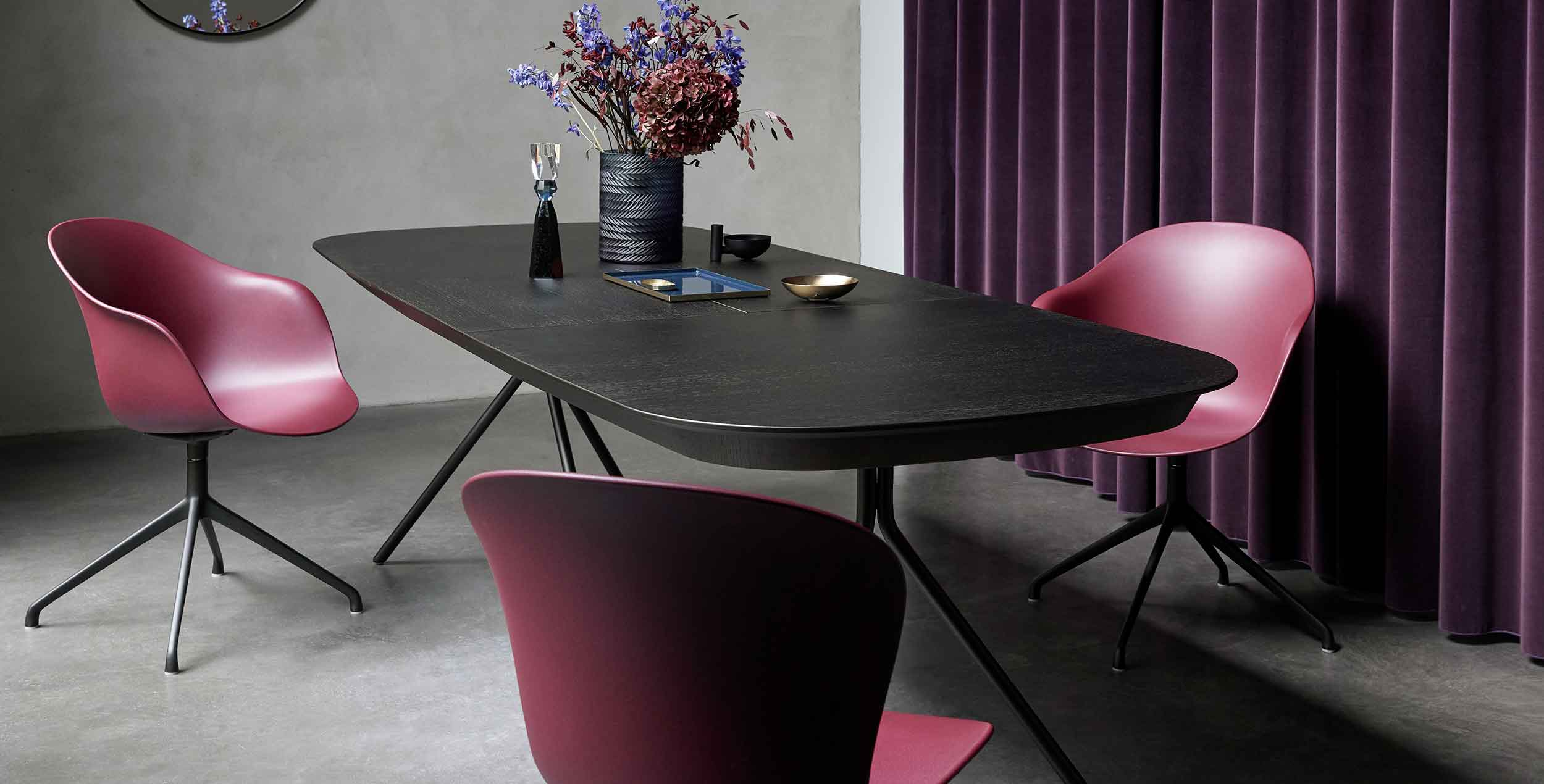 Rustic red adelaide chairs and dining table