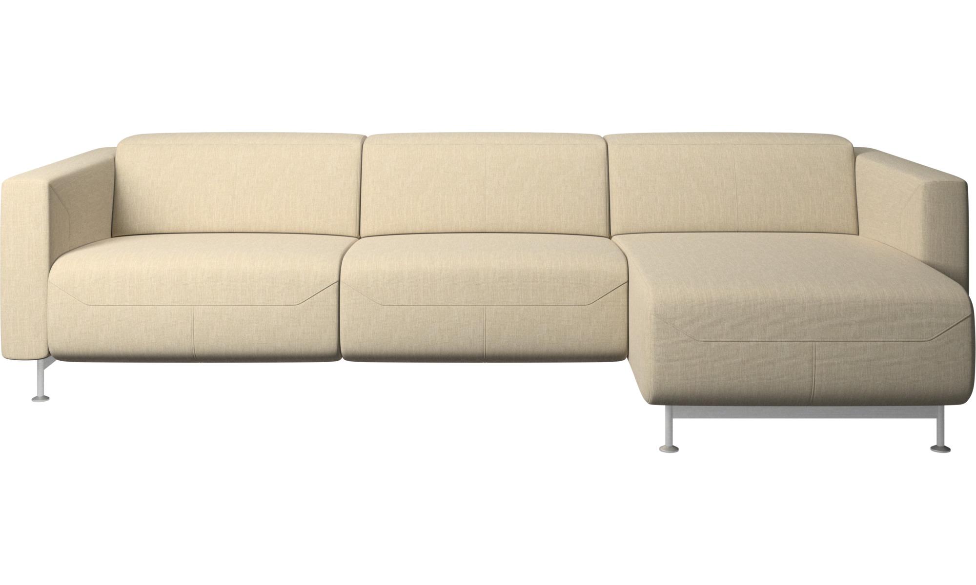 Justerbare sofaer - Parma sofa med hvilefunktion og chaiselong - Brun - Stof