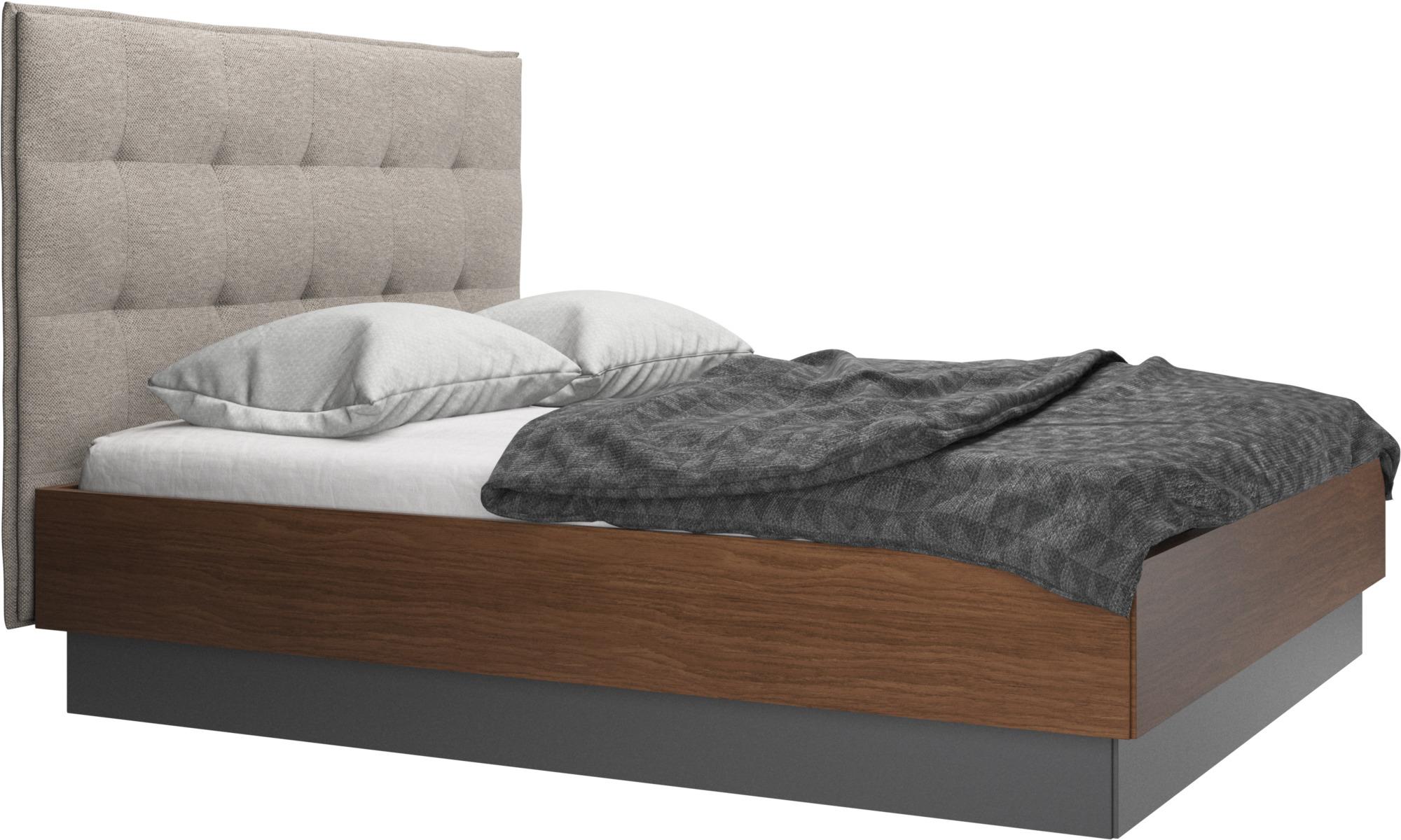 Betten - Lugano Bett mit Lattenrost und Staufach unter hochklappbarer Liegefläche, Matratze gegen Aufpreis - Beige - Stoff
