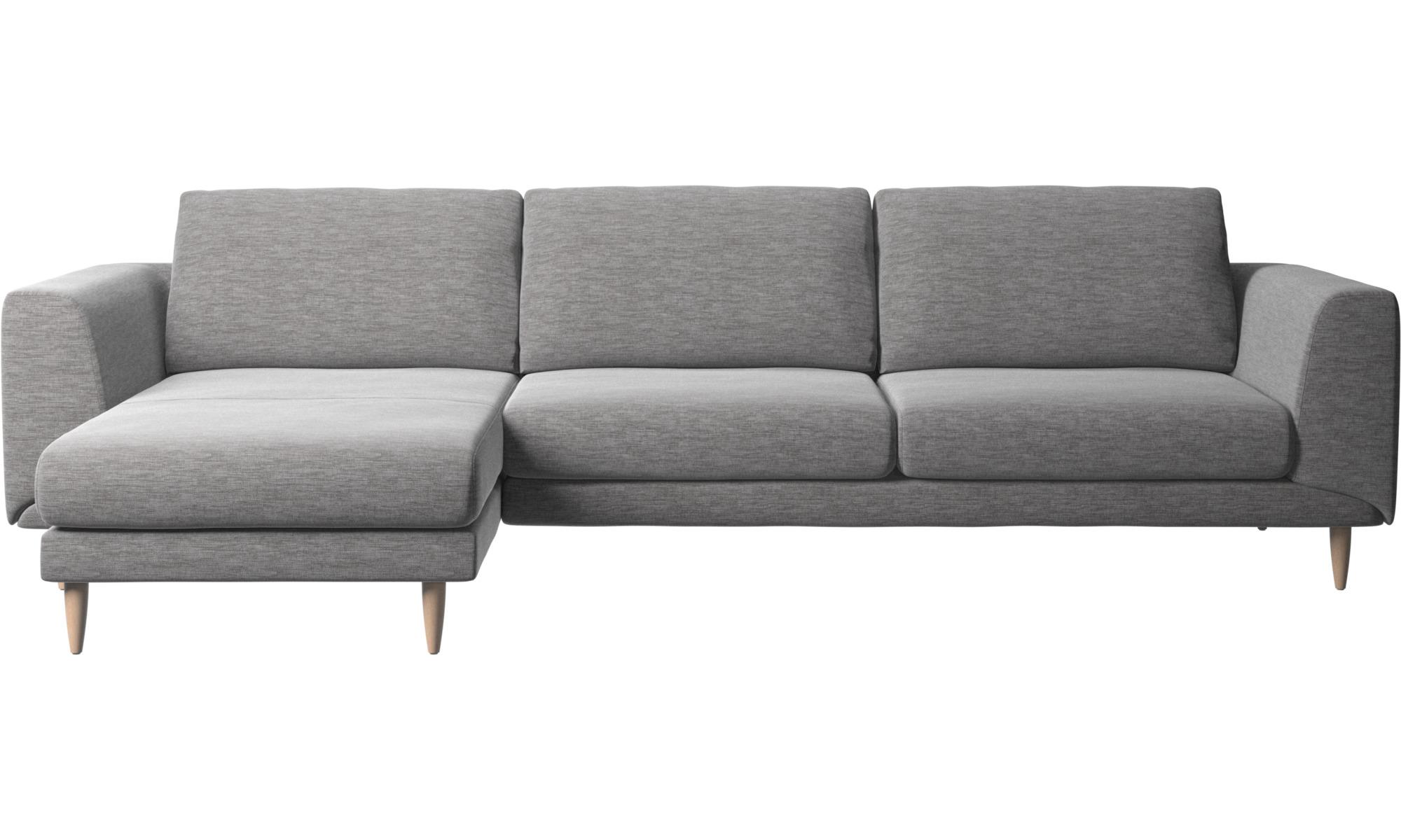 Canapés avec chaise longue - Canapé Fargo avec chaise longue - Gris - Tissu