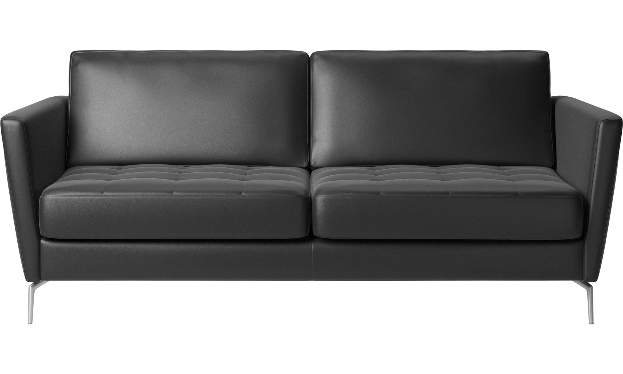 Sofy rozkładane - Sofa Osaka z funkcją spania, pikowane siedzisko - Czarny - Skóra