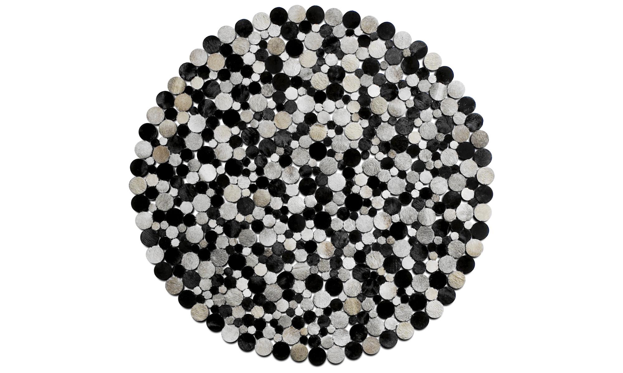 Rugs - Rondo rug - round - Grey - Leather