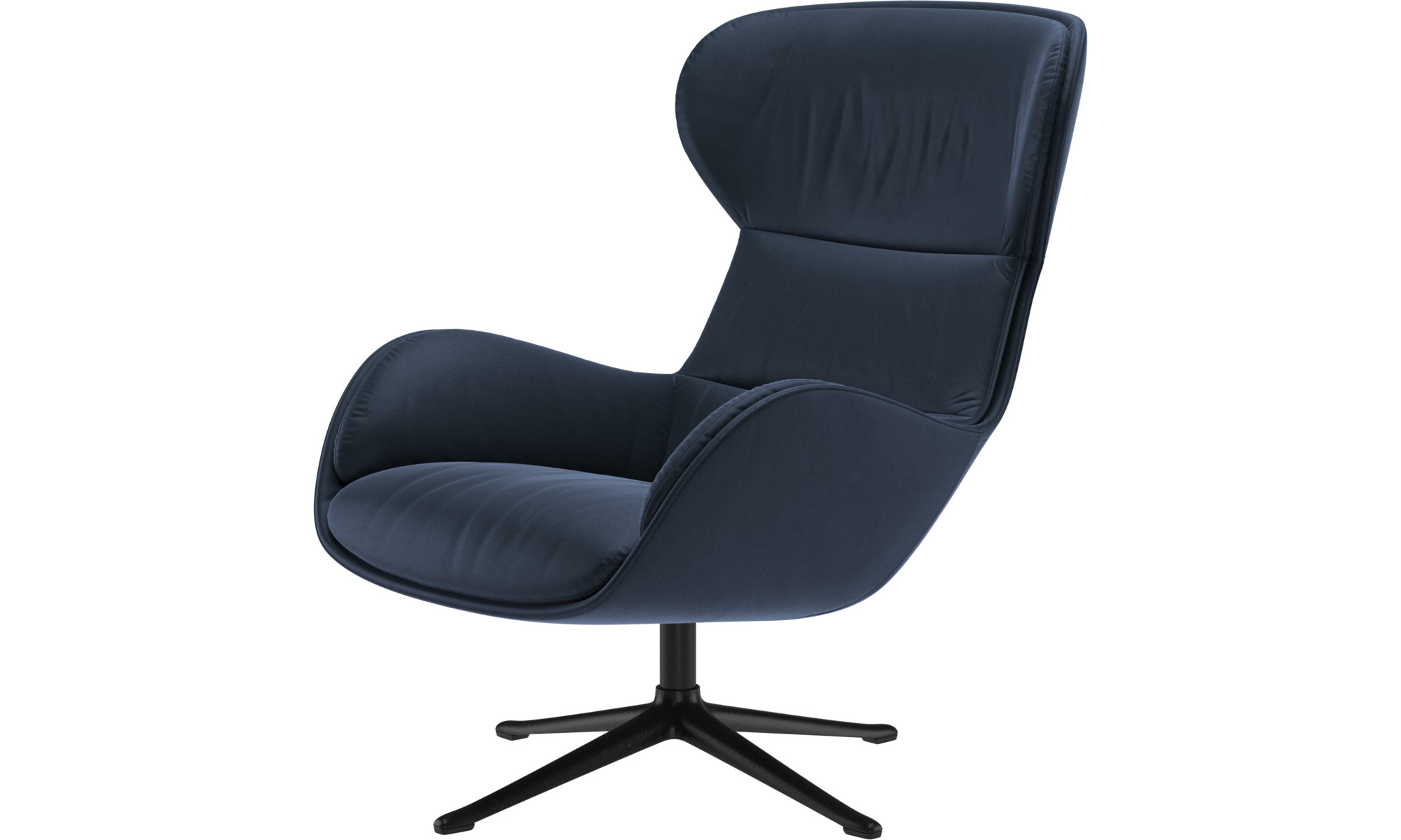 Armchairs - Reno chair with swivel function - Blue - Leather
