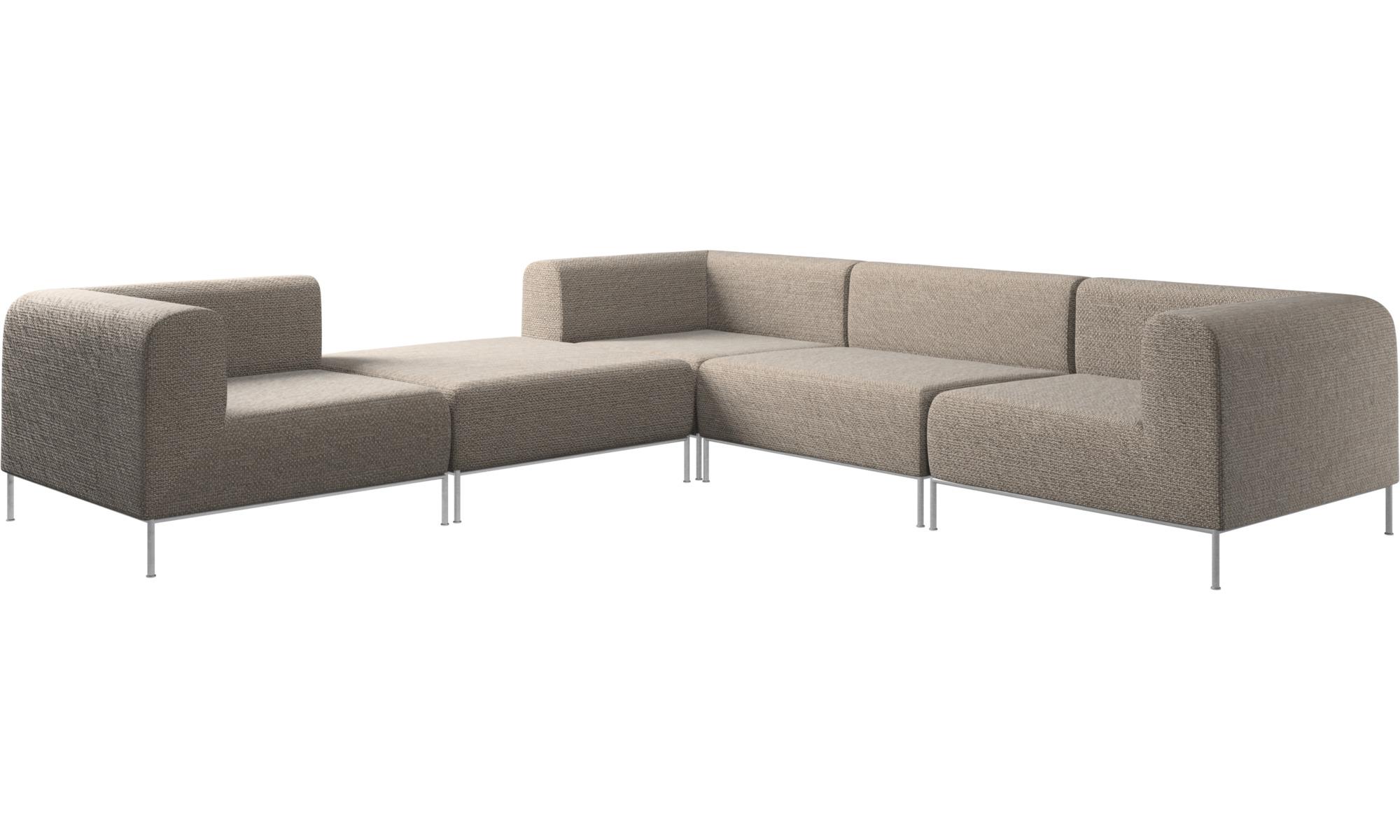 Modular Sofas Miami Corner Sofa With Pouf On Left Side Brown Fabric