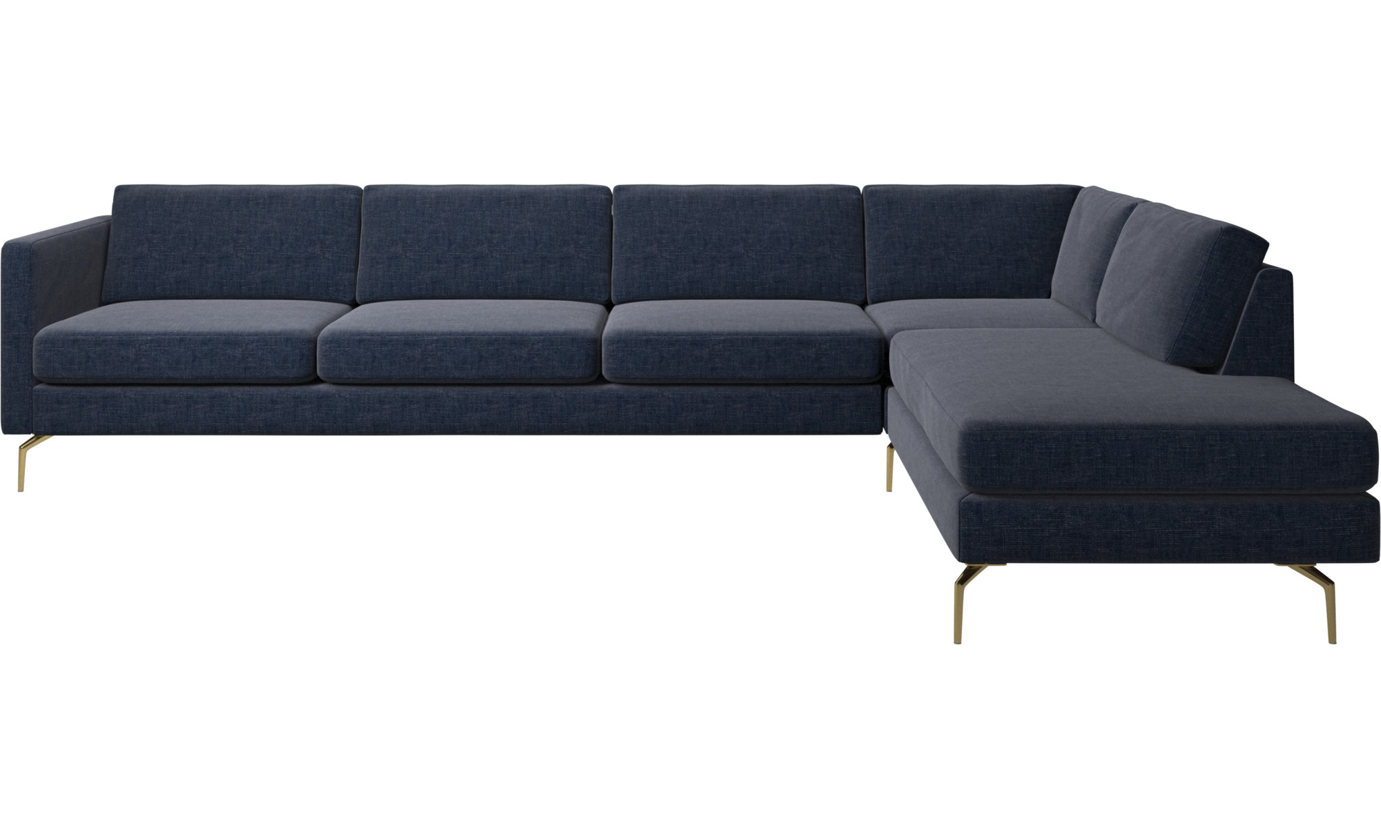 Corner sofas - Osaka corner sofa with lounging unit, regular seat - Blue - Fabric