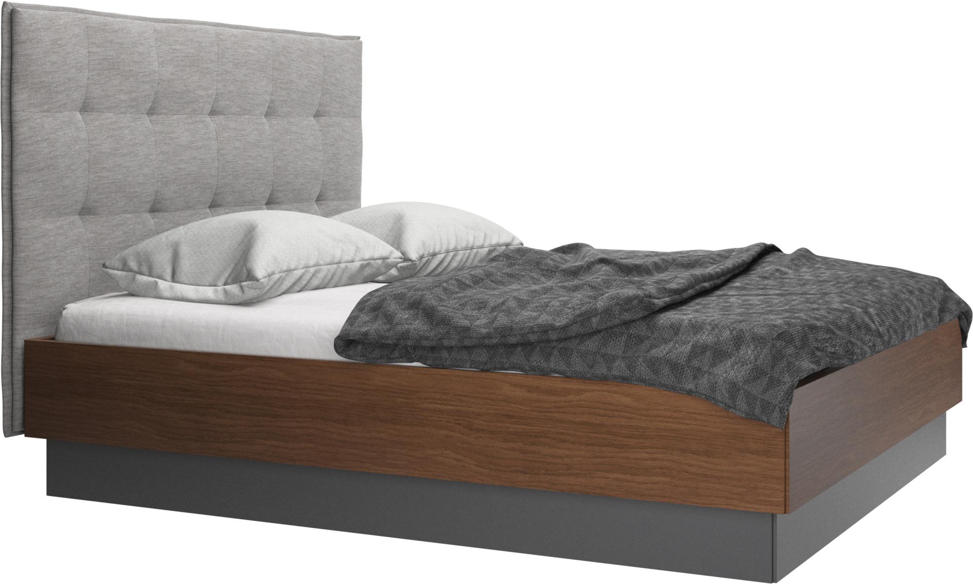 Camas - Cama con canapé Lugano, estructura elevable y tablado, no incluye colchón - En gris - Tela
