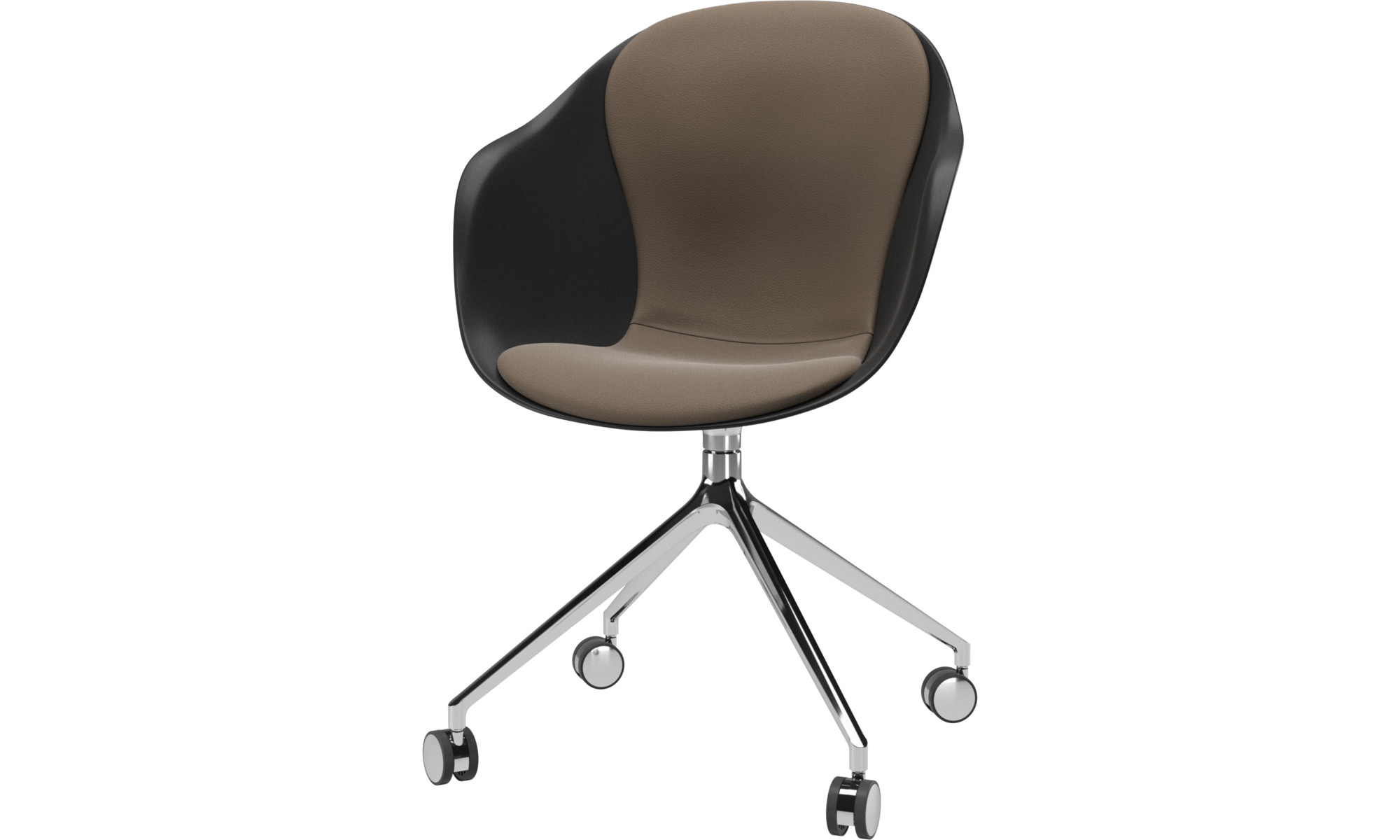 Home office chairs - Adelaide chair with swivel function and wheels - Grey - Leather