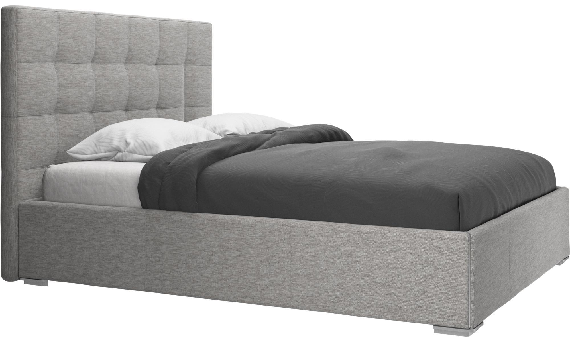 Camas - cama con canapé Mezzo, estructura elevable y tablado, no incluye colchón - En gris - Tela