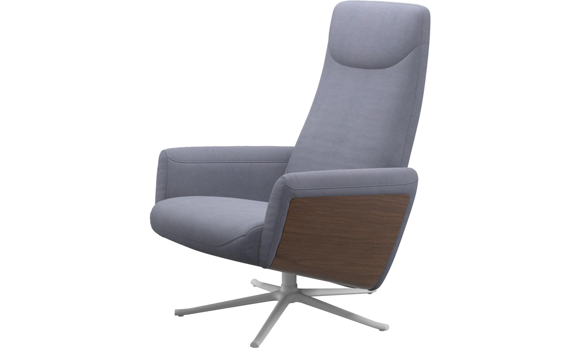 Reclináveis - Cadeirão reclinável Lucca com função giratória - Azul - Tecido
