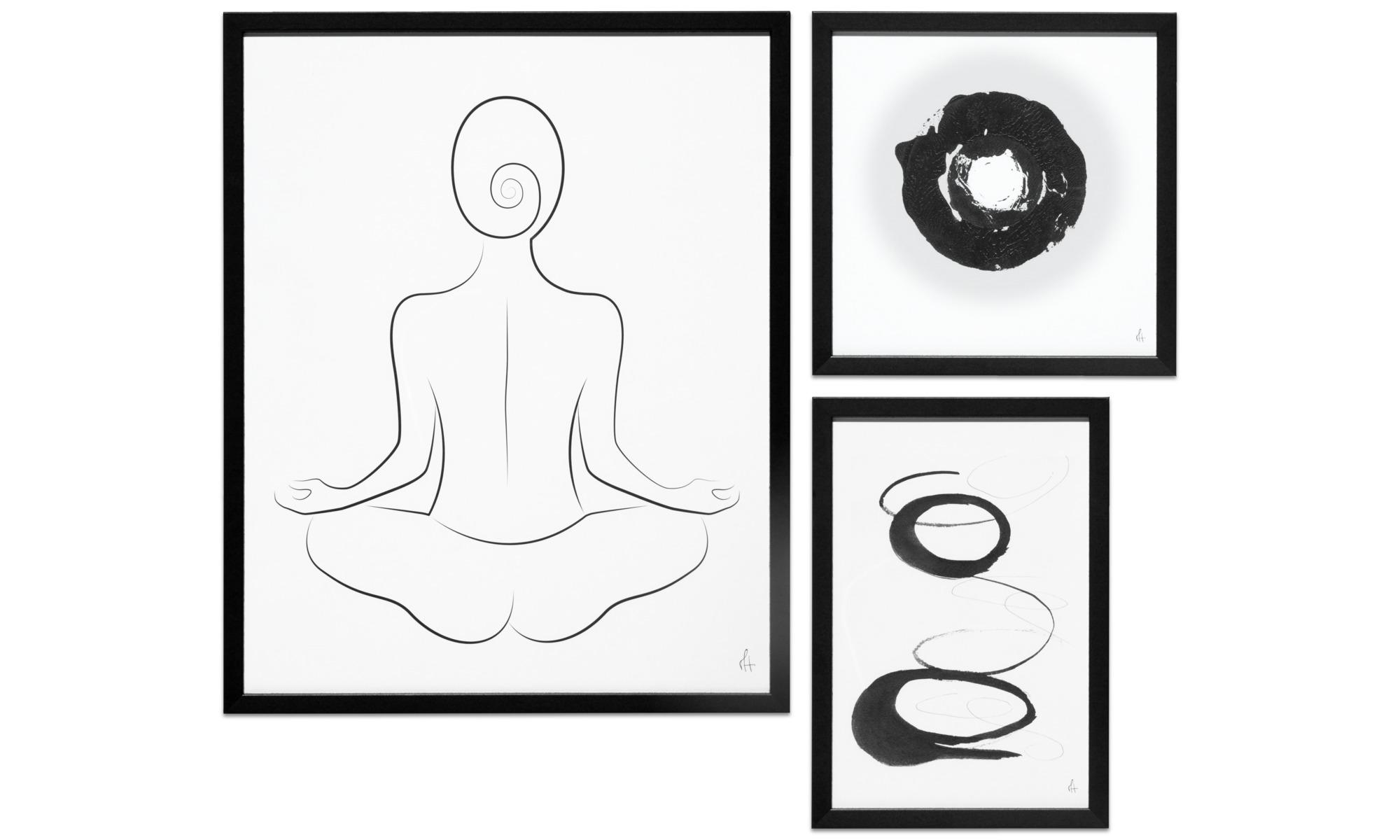 Tavlor - Art Lines konst på papper, set av 3 st - Svart - Papper