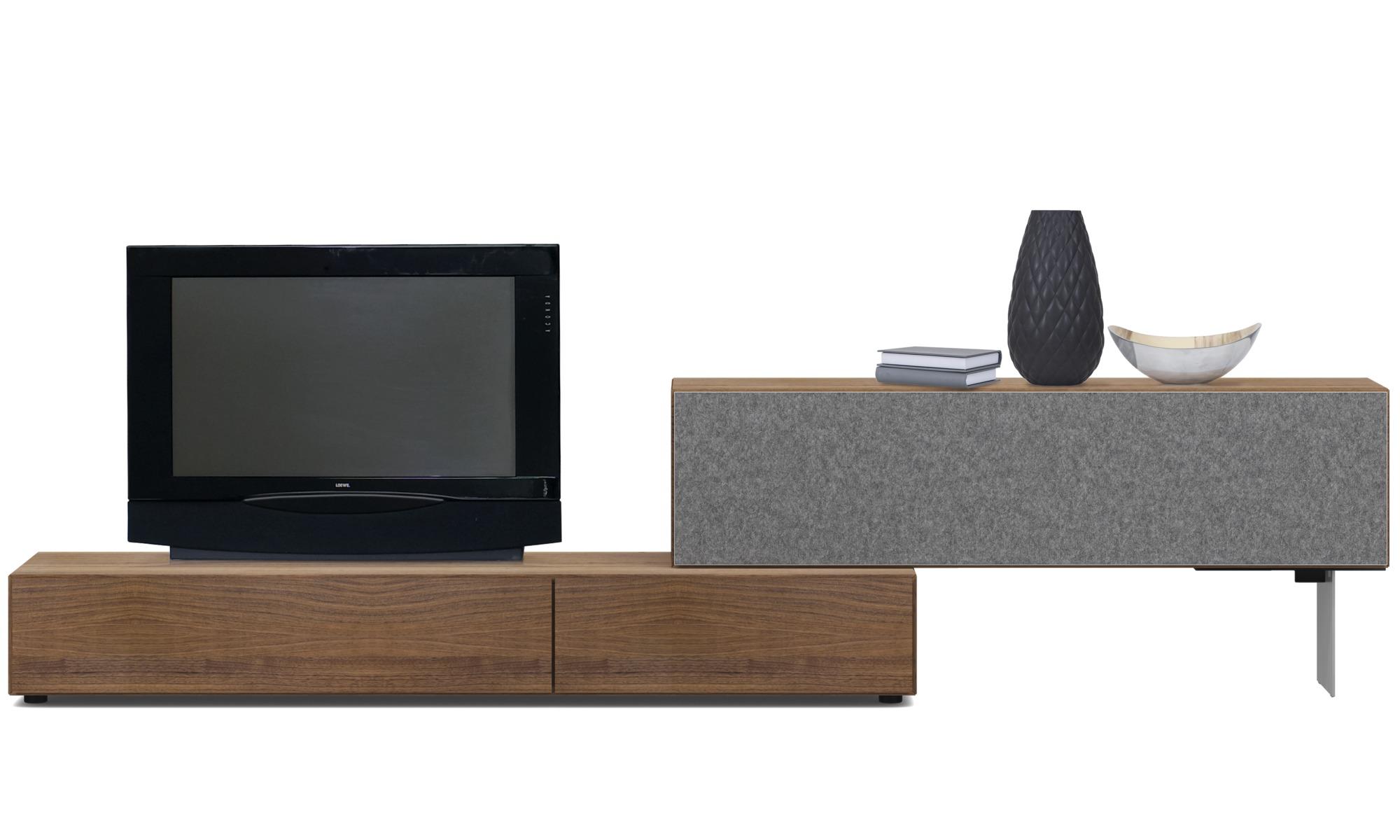 Muebles de TV - Gabinete de base Lugano con puertas abatibles hacia abajo - Frente de altavoz